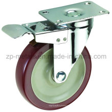 3inch mittelgroße Biaxial Bordeaux PVC Caster Räder mit Bremse