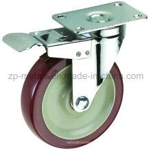 Среднего размера 3-дюймовый Двухосный Бордо PVC Рицинус колеса с тормозом