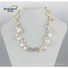 14-16mm Frshwater Natural Coin Shape Pearl Necklace