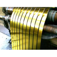 Tira de acero de hojalata laqueada dorada gruesa de 0.18 mm