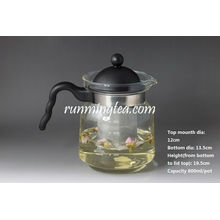 Straight Glass Tea Pot with Stainless Steel Screen Insert, 800ml/pot(borosilicate with PV Handle)
