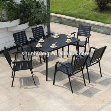 Modern black plastic wood 6 seater dining set 7 PCS long table set outdoor furniture