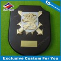 3D Gold Lion Metal Wooden Trophy Custom Logo Embossing Wood Plaque