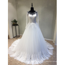 Long Sleeve Lace Evening Party Prom Muslim Bridal Wedding Dress