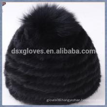 Black Mink Fur Cap With One Solid Spheres