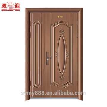 Porte d'entrée en acier de conception inégale à double ouverture