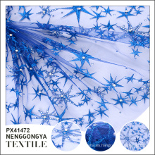Oem Diferentes tipos de telas bordadas decorativas azules cómodas