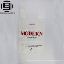 Design de moda branco impresso t-shirt saco de plástico