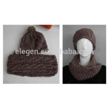 Niñas Winter / Fall fábrica de China Sombrero de punto de acrílico y conjuntos de bufanda con la pelota