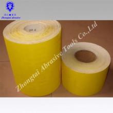 Rollo de papel de lija blanco corindón amarillo papel CWT / rollo de papel abrasivo