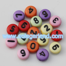 4x7MM Acrylic Opaque Coin Round Digit Number Charms 0-9