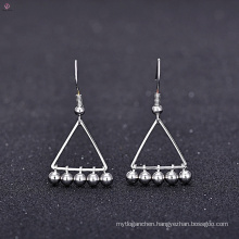 Removable Bead White Gold Plating Copper Triangle Statement Retro Earring