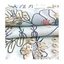 high quality 100% polyester woven floral printing embroidery fabric for women clothing