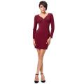 Kate Kasin Sexy Women's Long Sleeve V-Neck Button Front Cheap Wine Tight Skirt Mini Short Dress KK000300-2