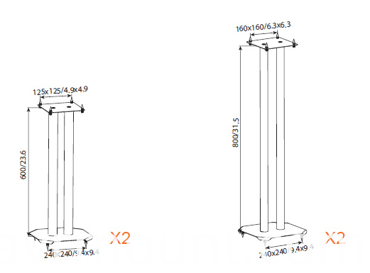AVRS04 speaker stand size drawing