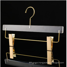 High grade Trouser Hanger Transparent acrylic plastic pants skirts hanger with clips