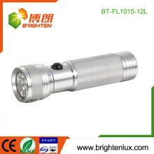 Factory Bulk Sale 3 * AAA Battery Powered Metal Logo imprimé en argent couleur portable 12 led LED en aluminium torche Light