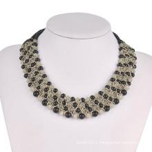 Full Diamonds on Metal Copies en 3 Rolls Fashion Necklace (XJW13604)