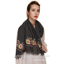 Fashion embroidery tassel scarf premium cotton viscose hijab