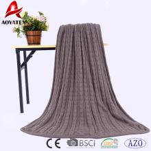 Wholesale acrylic crocheted kint double layer sherpa blanket