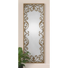 Bathroom Mirror / Metal Framed with Resin Flowers Decorated Wall Mirror