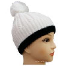 Bonnet tricoté avec coupe contrastante NTD1615
