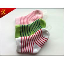Stripe Design Green and White Childrens Socks