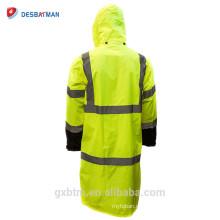 Custom ANSI Class 3 Hood Polyester Rain Jacket Yellow Waterproof Reflective Hi Visibility Man Rain Coat