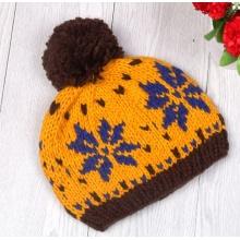 Зимняя шапка вязаная шапочка с мехом POM POM Женская шапка
