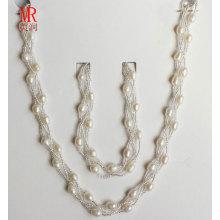 6-7mm Rice Shape Fresh Water Pearl Necklace Bracelet Set