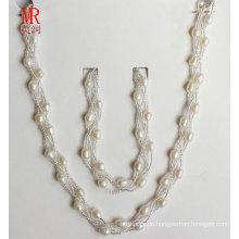 6-7mm Reisform Süßwasser Perlen Halskette Armband Set