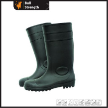 Black PVC Rain Boots with Steel Toecap (Sn1216)