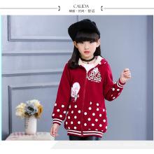gepunktete Mäntel rosa Kleidung Baby Mädchen 4-14 Jahre alt Winter Jacken warm gute Qualität Hoodies Kinder Mäntel mit Fell