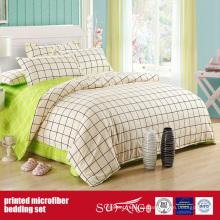 Cubierta de cama impresa combo de microfibra de tela verde cepillada