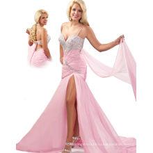 Серебро и розовый одно плечо ремень спагетти pageant платье вечернее платье с Sash и стразы RO11-18