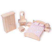 Wooden Mini Möbel Spielzeug Kleine natürliche Schlafzimmer Pretend Spiel Spielzeug YT1117
