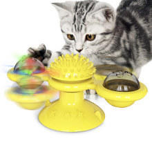 Cross-border relieving boring teeth chewing spinning cat turntable windmill cat toy