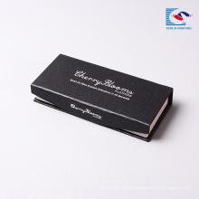 оптовая черный серебряный штемпелевать норки ресницы упаковочной коробки логотип магнитная картона