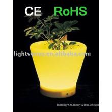 Décoration pot de fleur LED IP54 RGB couleur changeante pots de planteur lumineux rechargeable