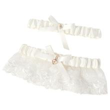 Grace Karin Adjustable Lace Heart Accent Wedding Keep & Toss Away Garter Set CL008960-1