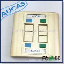 Aucas rj45 faceplate 4 port faceplate shuttered special golden finished
