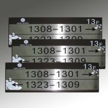 Placa gravada de aço inoxidável do número do quarto
