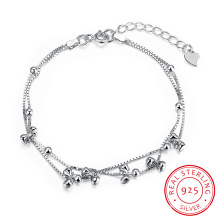 925 Sterling Stahl mit mehreren Bowknot Armband Pole Chain Charm Gracile Armband