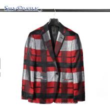 1 Button Garment Business Suit Men Check Blazer