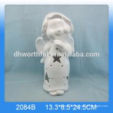 Handmade ceramic white angel statue with led light