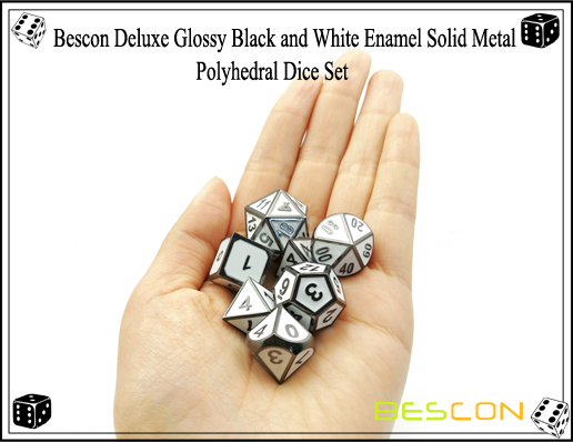Bescon Deluxe Glossy Black and White Enamel Solid Metal Polyhedral Role Playing RPG Game Dice Set (7 Die in Pack)-9