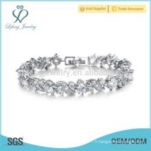 Bracelets en argent platine pour dames, bracelet en argent massif en cristal