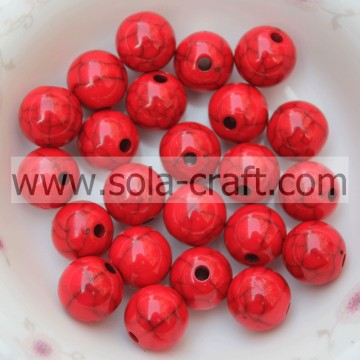 Many Of Red Color Crack Smooth Loose Round Acrylic 6MM Beads With Reasonable Price