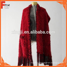 Beautiful Red Color Knitted Mink Scarf Fur Scarf