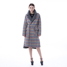 Plaid cashmere coat med plaid krage